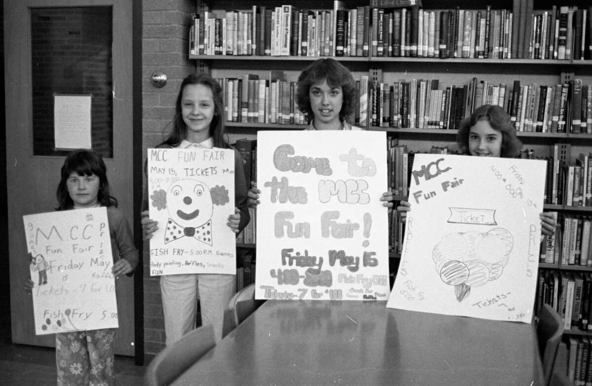 The Manistee Catholic Central Home and School Association is presenting its annual Fun Fair on May 15 in the MCC gym and cafeteria. Shown are poster winners (from left) Jill Skiera, third place for elementary grades; Stacey Skiera, second place elementary; Michelle Dumas, first place winner for the junior high, and Carrie Kowalski, first place for elementary. The photo was published in the News Advocate on May 6, 1981. (Manistee County Historical Museum photo)