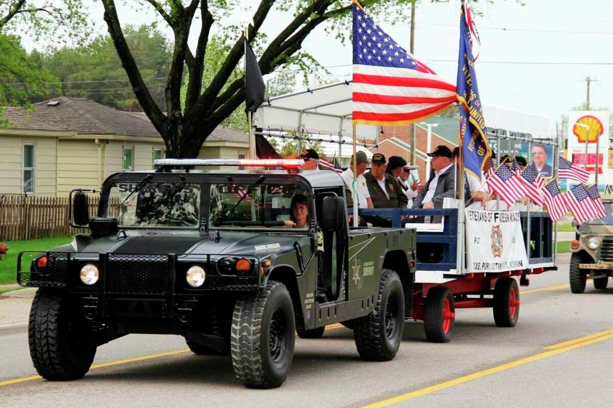 A group of veterans take part in the Bad Axe Memorial Day parade back in 2019. The parade has been canceled this year due to continued uncertainty of the COVID-19 pandemic in Huron County. (Tribune File Photo)