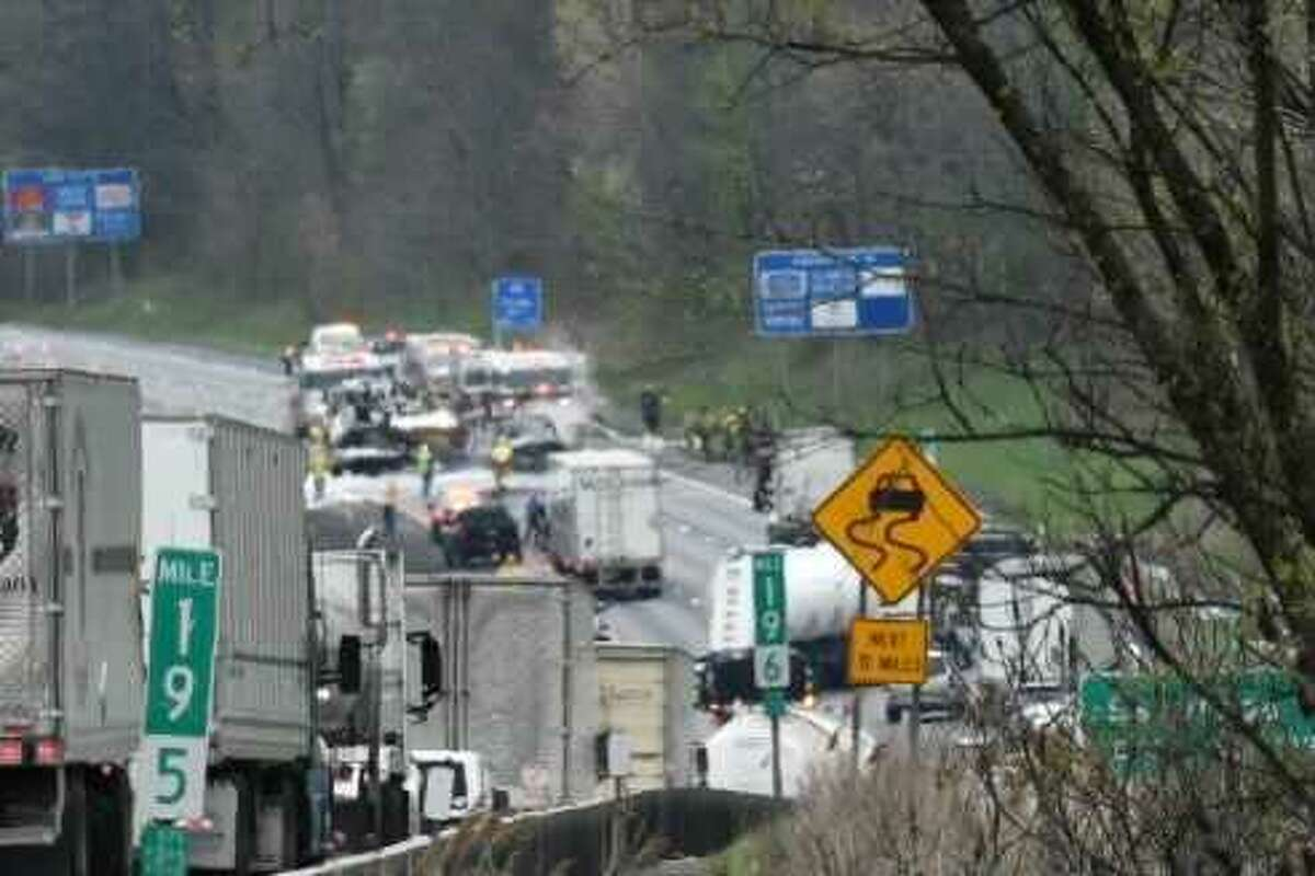 Traffic on the Northway was brought to a stop Wednesday morning after a crash and vehicle fire near Exit 12 forced the state to close all lanes of the northbound side of the highway.