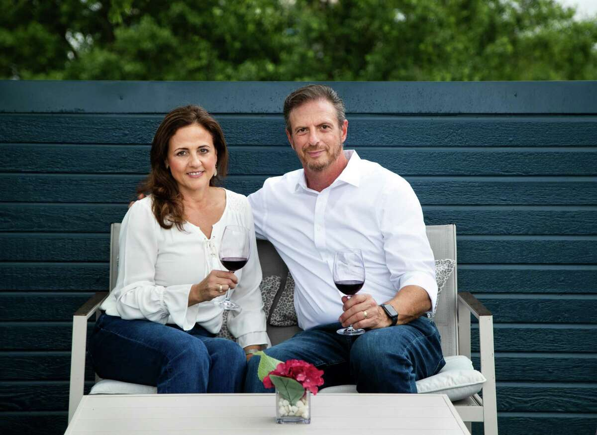 Serca Wines owners Carolina and Sergio Weitzman in their Heights wine tasting property, Tuesday, April 27, 2021, in Houston.
