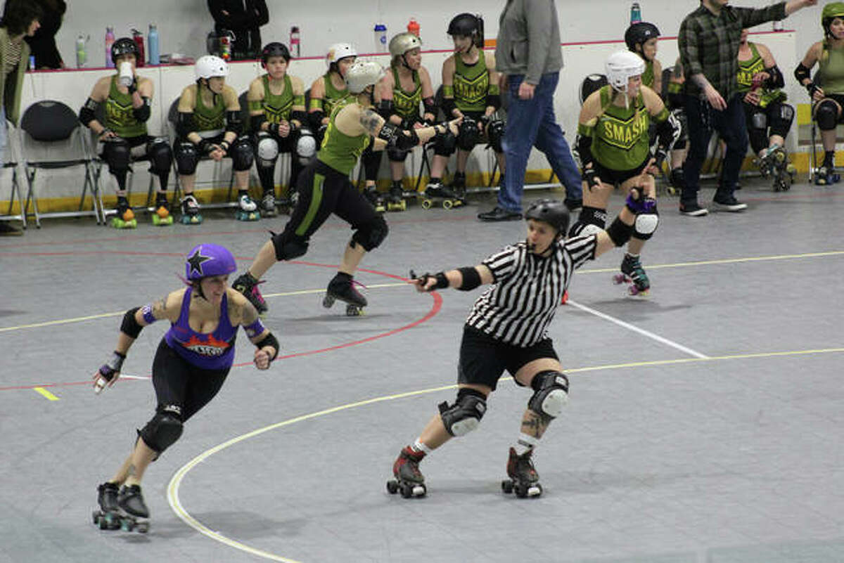 Krystie Morrison of Lewis and Clark Community College's student-run newspaper, The Bridge, won the Sports Photo category of the Illinois Community College Journalism Association with an image from the Jams and Slams Roller Derby.