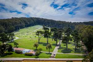 An aerial view of the Presidio National Cemetary in San Francisco.
