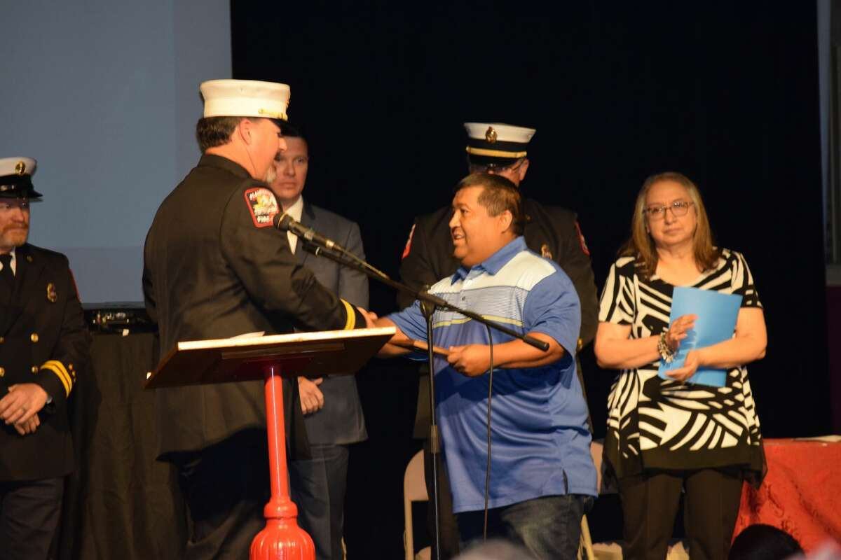 Derrick Reyes was recognized Saturday as the 2020 Friend of the Fire Department for his dependability in assisting the department.