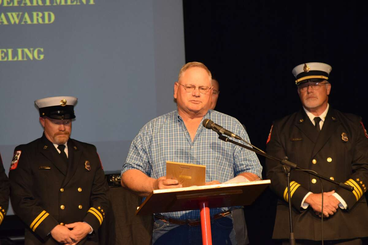 The Fire Department on Saturday presented Ebeling with a Lifesaving Award for his actions to help free a trapped individual after a rollover.