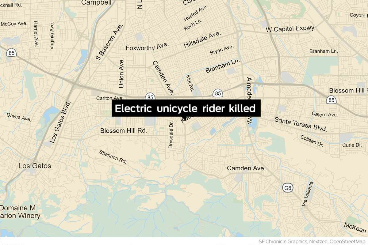 A man who fell from his electric unicycle on a San Jose roadway was struck by a vehicle and died Tuesday, San Jose police said. The man, whose name has not yet been released, was riding the single-wheeled, electric battery-powered device eastbound in the 1500 block of Kooser Road in the middle of a traffic lane at about 9:55 p.m., and was immediately hit by an vehicle that left the scene after the incident.