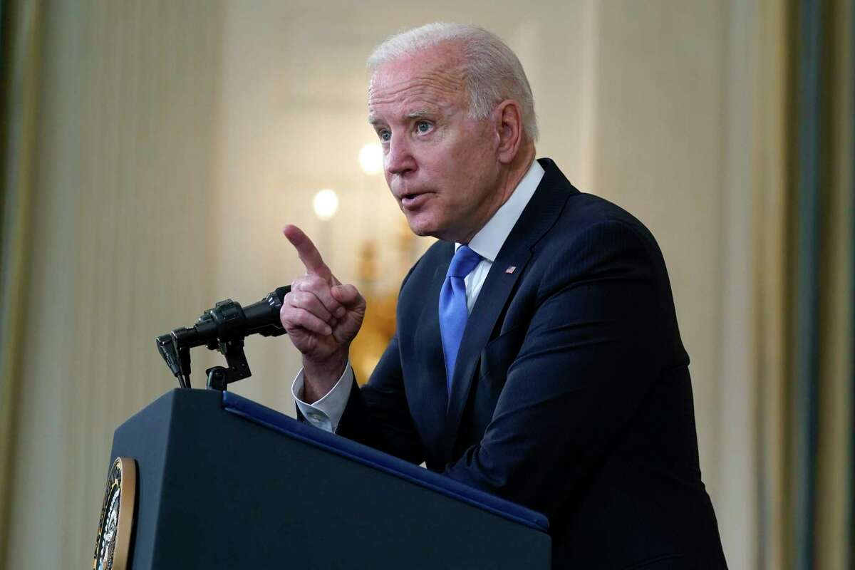 President Joe Biden takes questions from reporters as he speaks about the American Rescue Plan, in the State Dining Room of the White House, Wednesday, May 5, 2021, in Washington.