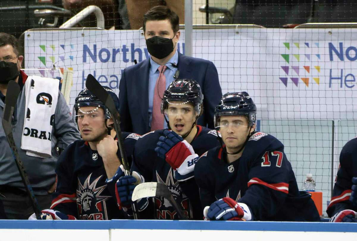 Rangers Associate General Manager Chris Drury works the bench during a game against the Philadelphia Flyers on March 17. Drury, a Trumbull native, was promoted to GM and president of the Rangers on Wednesday.