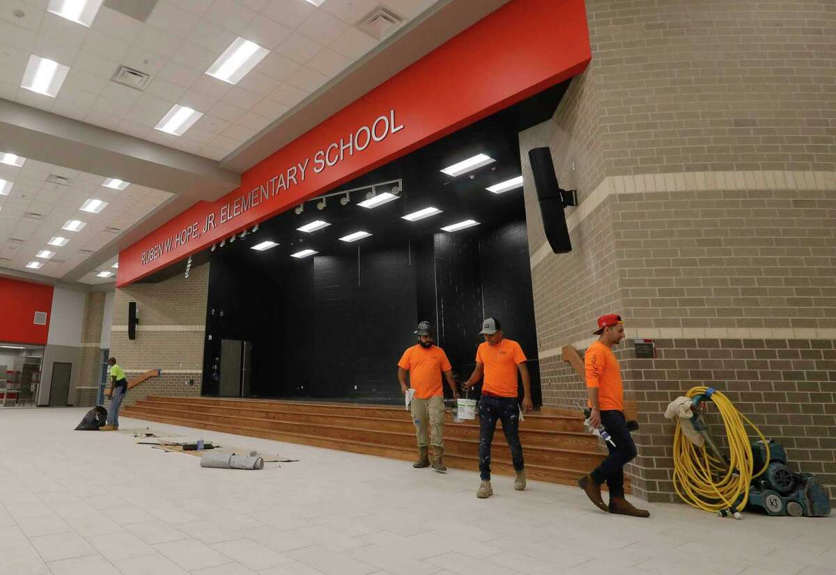 Construction continues on the nearly completed Ruben Hope Elementary, Wednesday, May 5, 2021, in Grangerland. The Caney Creek High School feeder school, named after the former Conroe ISD board member and state representative, will open with 450 students this fall with a full capacity of 1,000 students for grades pre-k through 4th grade.