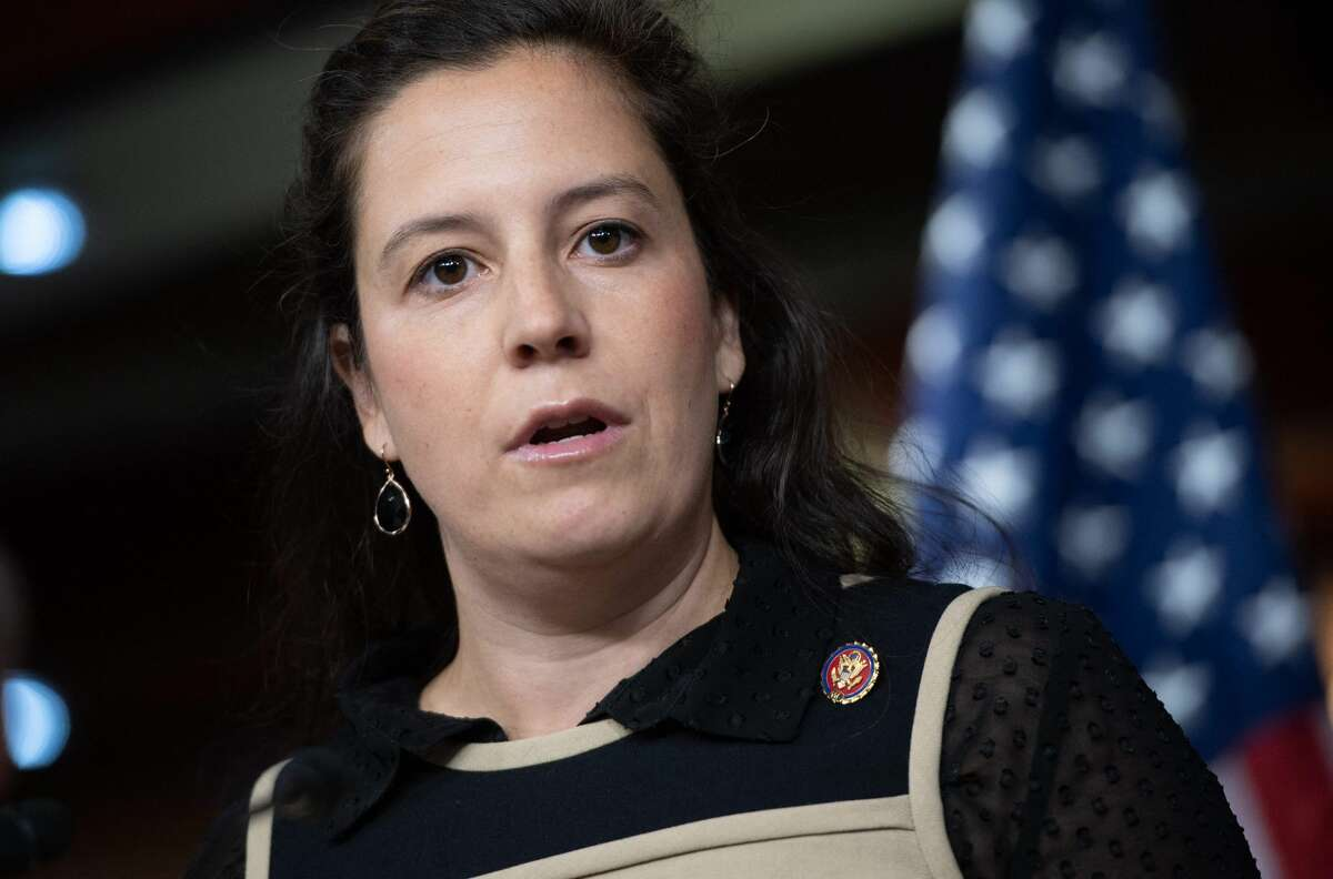 In this file photo, US Representative Elise Stefanik, Republican of New York, speaks during a press conference on Capitol Hill in Washington, DC. Stefanik was endorsed by former President Donald Trump to take over as No. 3 leader in the House of Representatives.