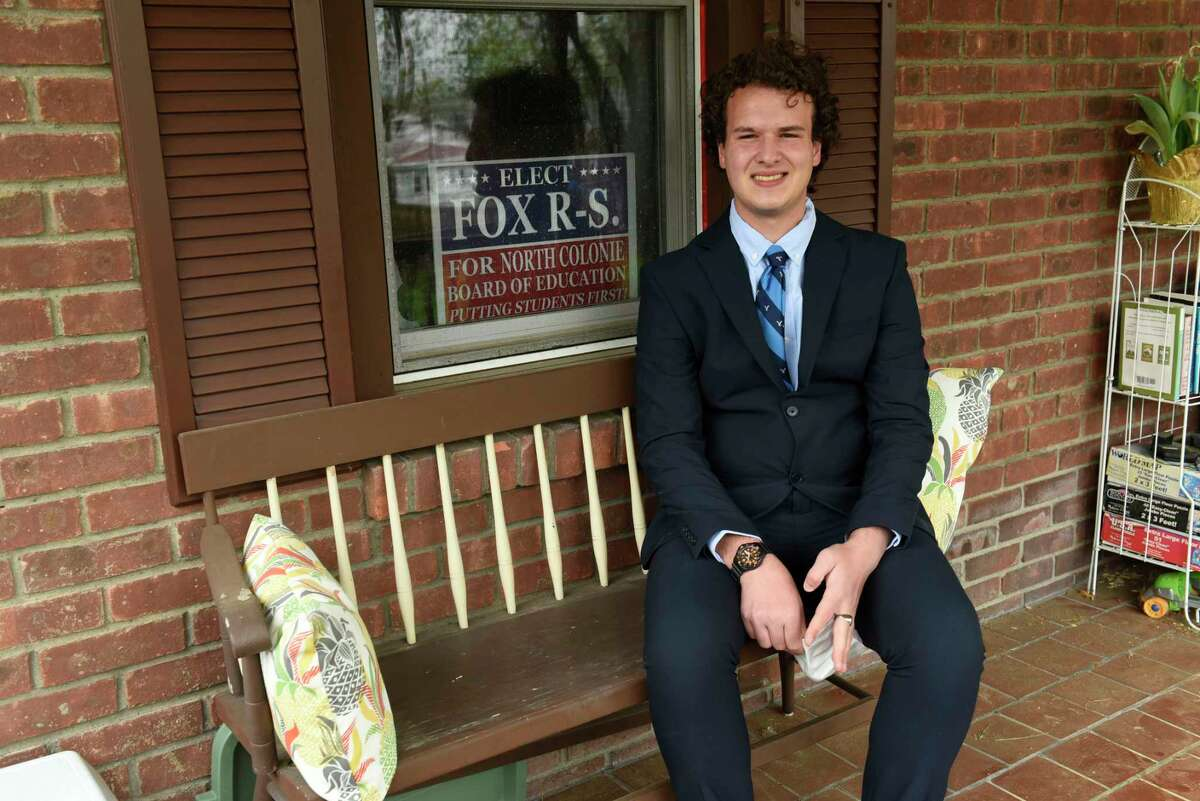 Fox Rifenberg-Stempel is seen at his home on Wednesday, May 5, 2021 in Latham, N.Y. Rifenberg-Stempel is an 18-year-old senior at Shaker High School and is believed to be the youngest person to run for school board in North Colonie. (Lori Van Buren/Times Union)
