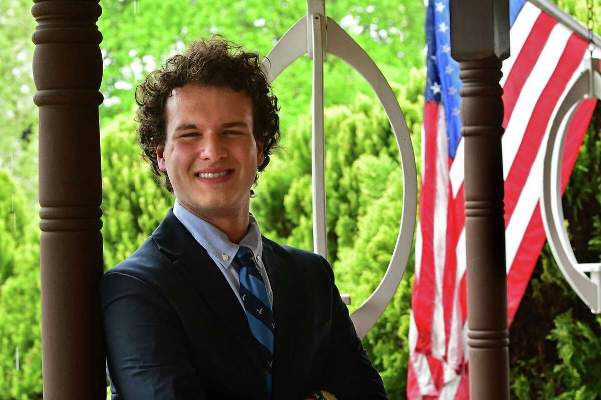 Fox Rifenberg-Stempel is seen at his home on Wednesday, May 5, 2021 in Latham, N.Y. Rifenberg-Stempel is an 18-year-old senior at Shaker High School and is the youngest person to run for school board in North Colonie. (Lori Van Buren/Times Union)