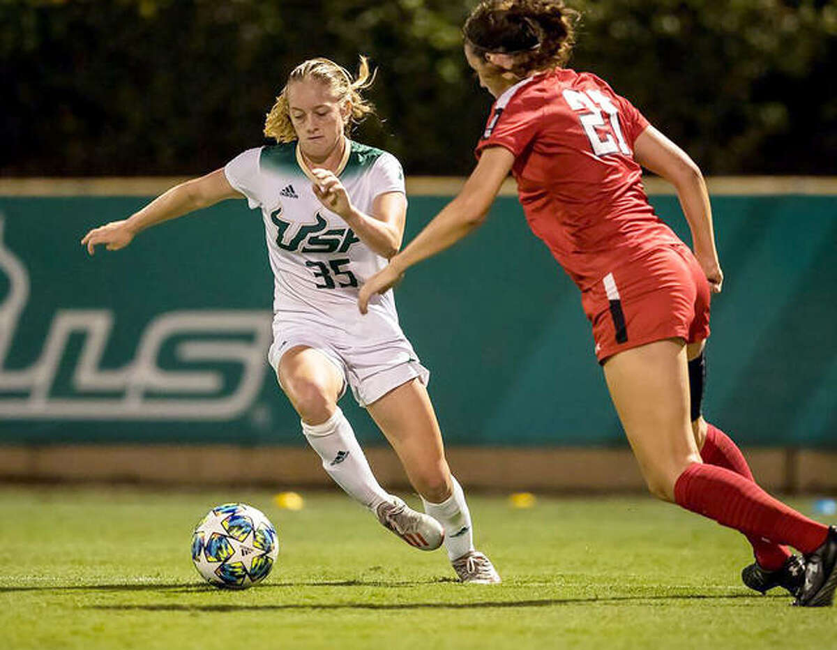 University of South Florida junior forward Sydny Nasello (35) is a semifinalist for the prestigious Hermann Trophy, college soccer's highest honor. A native of Land O' Lakes, Fla., she is the daughter of Alton native and former AHS and Sangamon State player Tim Nasello. Her uncle, Greg Nasello, is a former AHS soccer coach and her late grandfather, Charlie Nasello, helped establish soccer as a sport in the area in the 1970s and 1980s and was active in youth soccer and refereeing for many years.