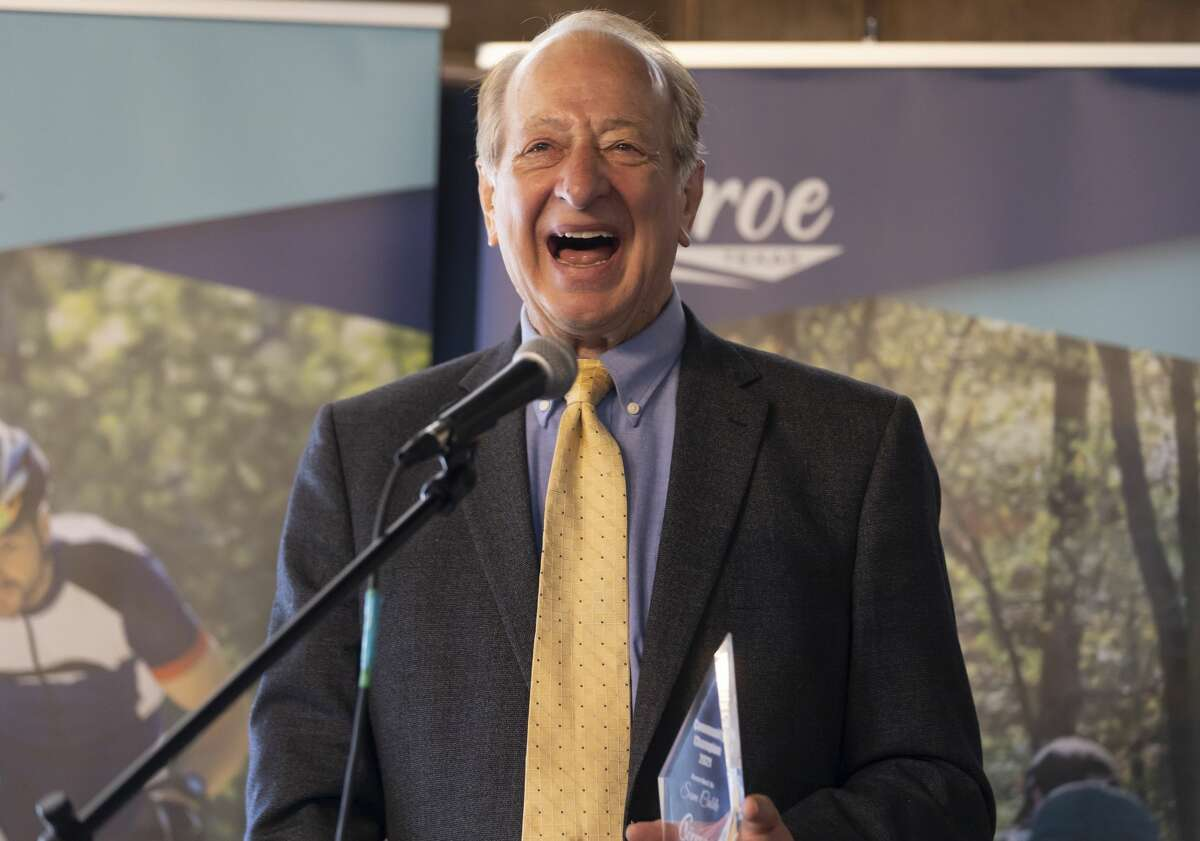 Sam Cable offers a speech after being awarded the Community Champion award during Conroe CVB's National Tourism Week event at 202 Main, Wednesday, May 5, 2021, in downtown Conroe. Different organizations in the Conroe area were honored with a trophy for their work in the city.