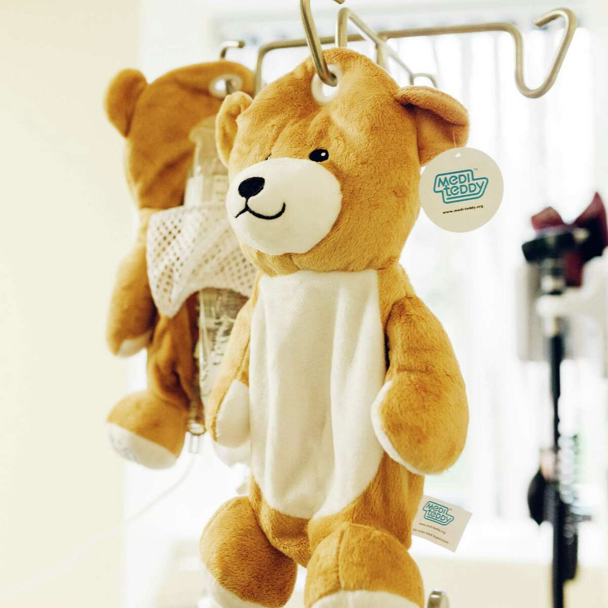 Ella Casano, 13, of Fairfield, created the Medi Teddy to cover IV bags for children who have to undergo treatment that involves regular IV infusions.