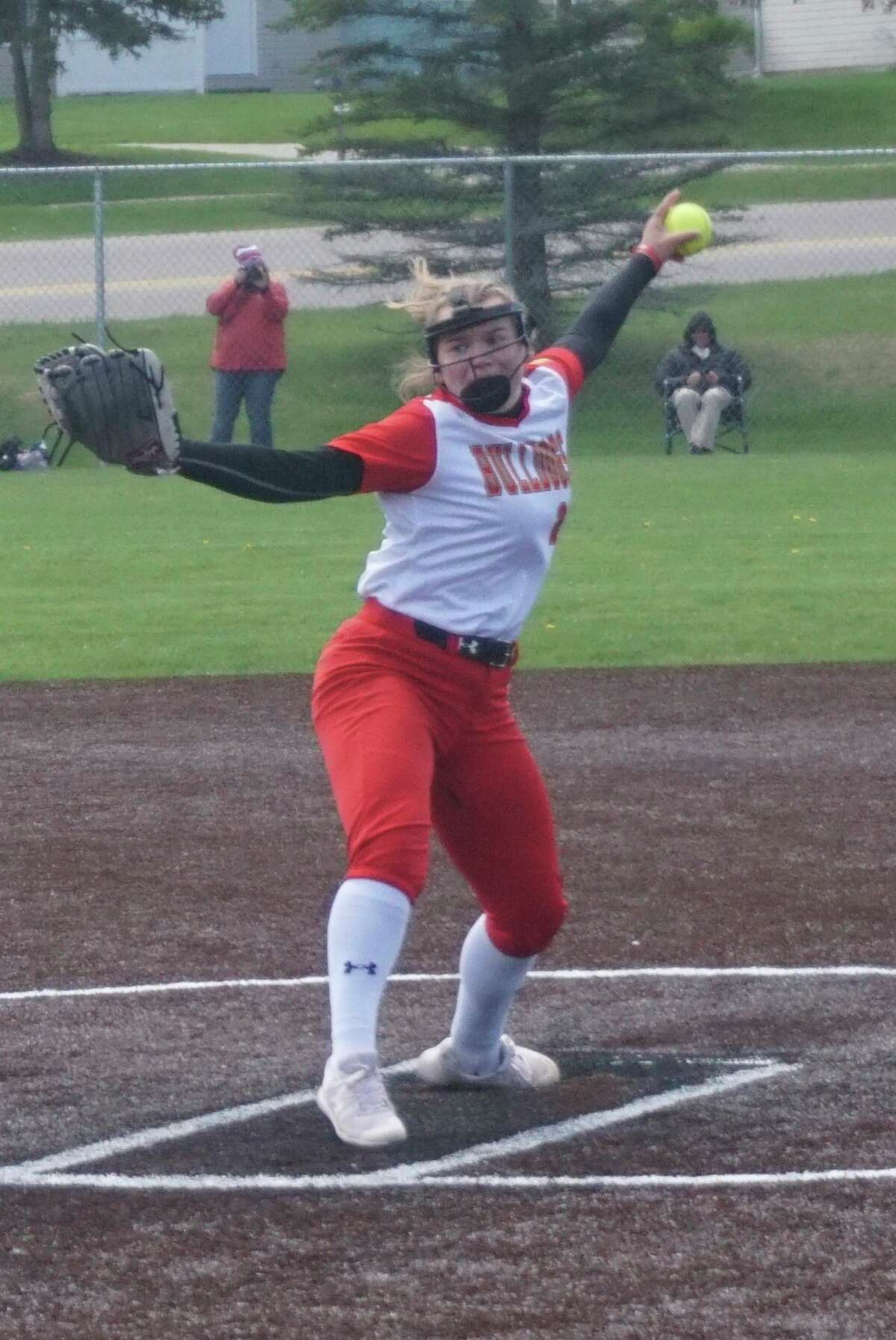 Ferris State lefthander Aryn Gallacher delivers a pitch during game one of a double header against Saginaw Valley State on Wednesday afternoon. (Pioneer photo/Joe Judd)