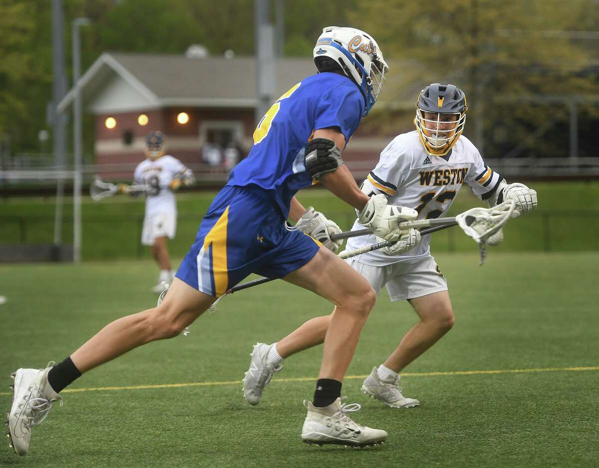 Weston v. Brookfield boys lacrosse at Weston High School in Weston, Conn. on Monday, May 3, 2021.