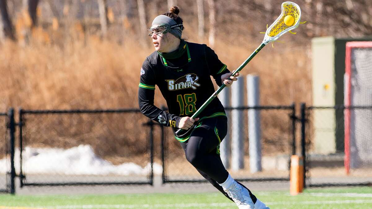 Siena lacrosse senior attack Nicole McNeely had five goals in a 21-11 win over Canisius in the MAAC quarterfinals. (Siena athletic communications)
