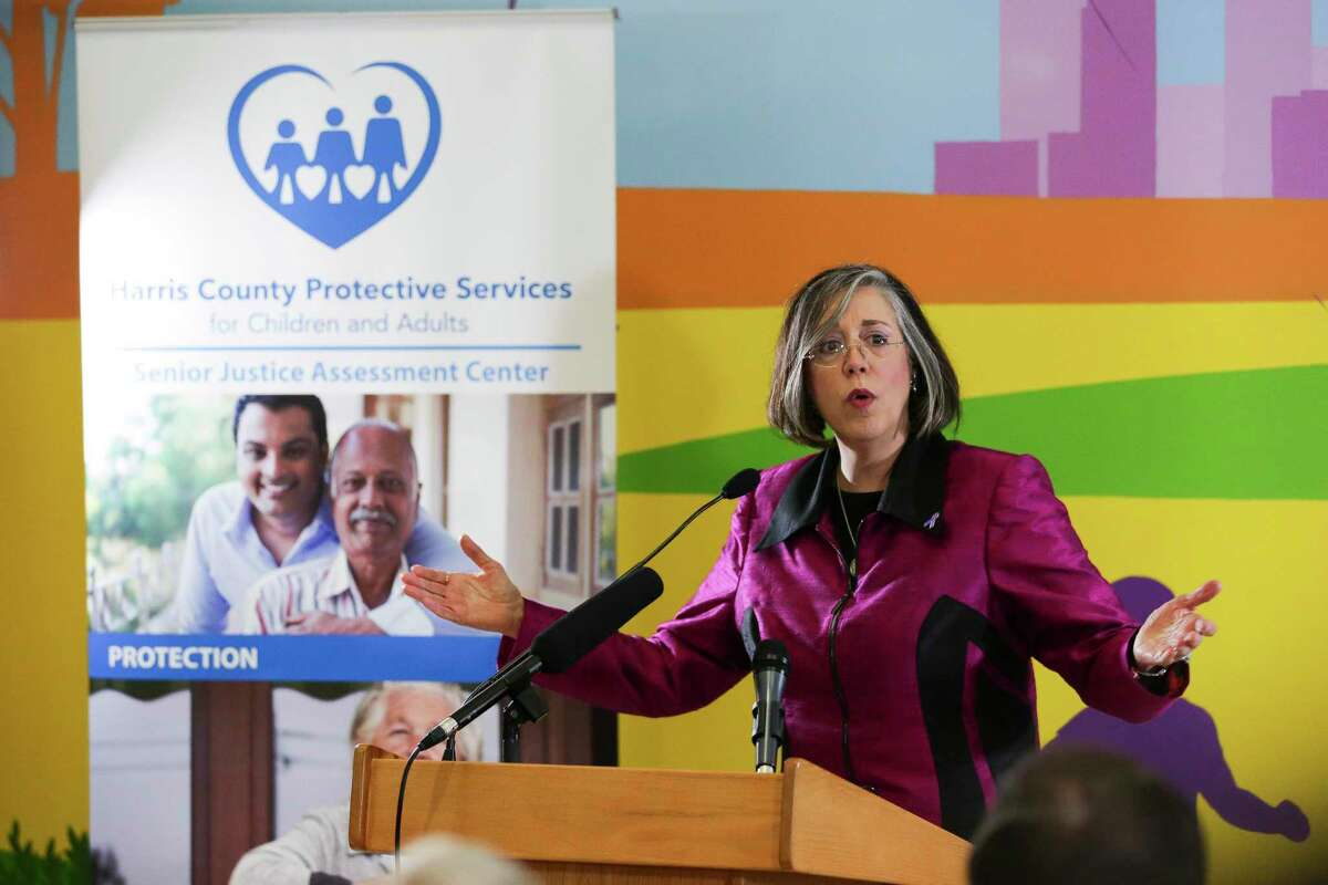 UTHealth Dr. Carmel Dyer speaks while helping to announce the launch of the Harris County Senior Justice Assessment Center Thursday, June 15, 2017 in Houston. The center, the first of its kind in Texas, hopes to protect seniors from abuse, neglect and financial exploitation. ( Michael Ciaglo / Houston Chronicle )