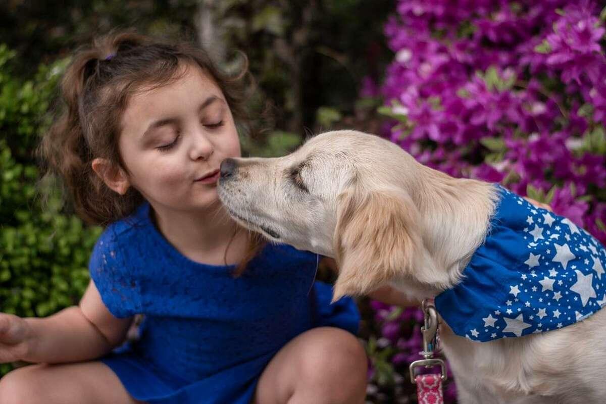 Vada Shapiro, 5, of Wallingford kisses her new puppy, Penny.