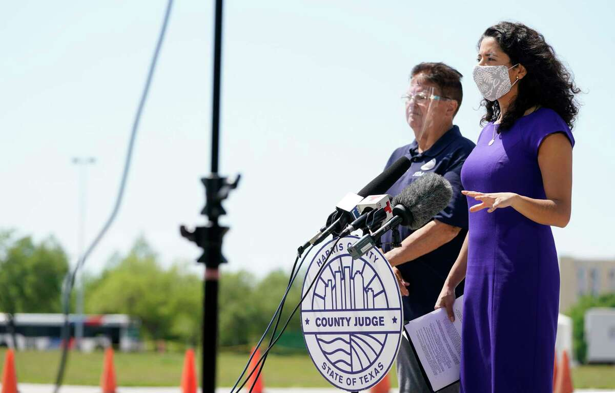Harris County Judge Lina Hidalgo speaks during a press conference at the FEMA Community Vaccination Center at NRG Park Monday, April 19, 2021 in Houston. Judge Lina Hidalgo announced that anyone in Harris County or the greater Houston area 16 or older will be able to receive the COVID-19 two-dose Pfizer vaccine at the FEMA Community Vaccination Center at NRG Park with or without an appointment.