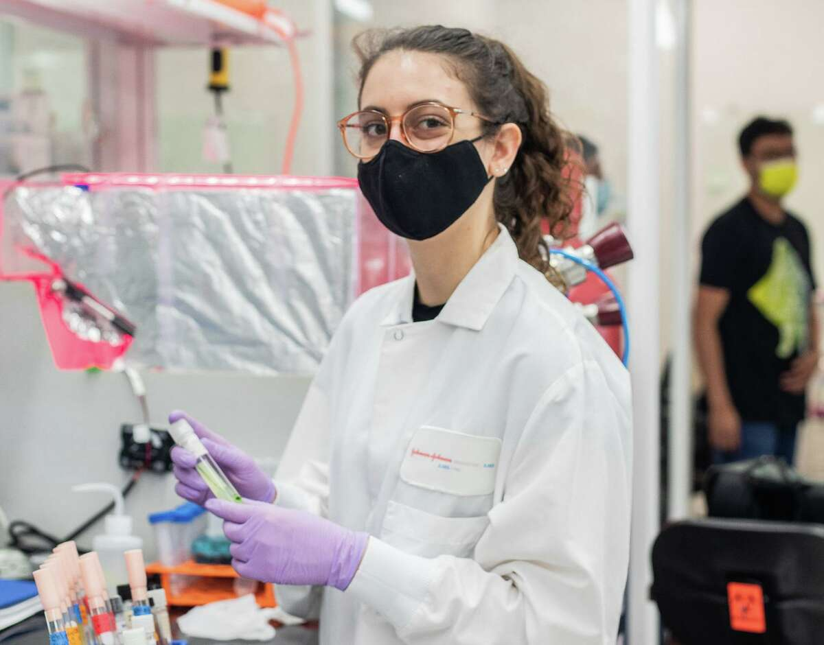 A Cemvita Factory scientist works in the company's Houston-based lab. The company, founded in 2017, bootstrapped its early development funding after realizing the difficulties of finding VC funding in Houston.