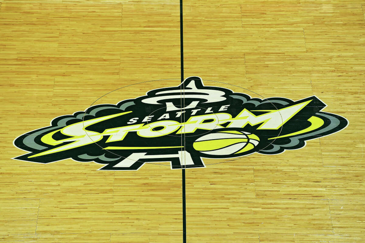 A general view of the center court Seattle Storm logo before the first game of the WNBA playoffs between the Seattle Storm and the Minnesota Lynx at the Angel of the Winds Arena on September 11, 2019 in Everett, Washington.