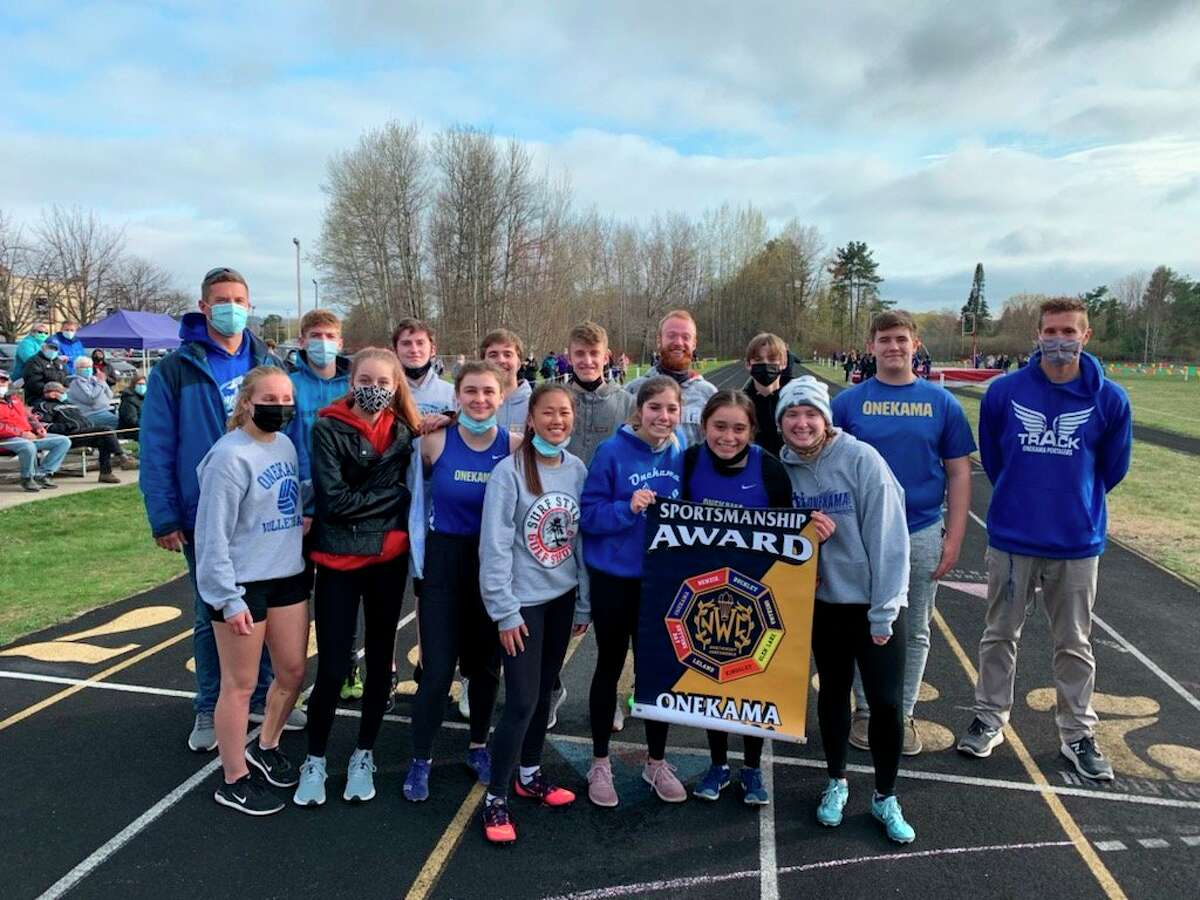 Onekama is honored with the Northwest Conference's Sportsmanship Award during a track meet on April 28. (Courtesy photo)