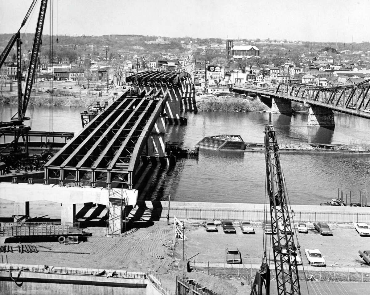The new Congress Street Bridge under construction in June 1970 with the second Congress Street Bridge to the right looking from Troy across the Hudson River to Watervliet