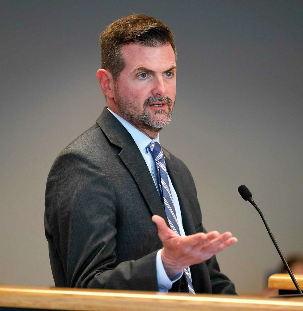 Sen. Brandon Creighton, R-Conroe, speaks during a special session of the Montgomery County Commissioners Court called after county health officials announced the second presumptive positive case of COVID-19, Thursday, March 12, 2020, in Conroe.