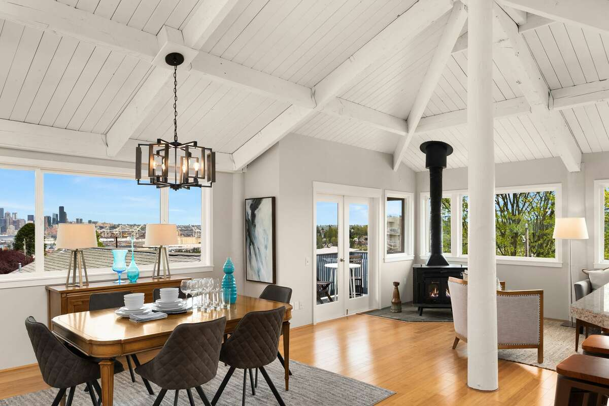 Inside, vaulted ceilings and large windows create light and space.