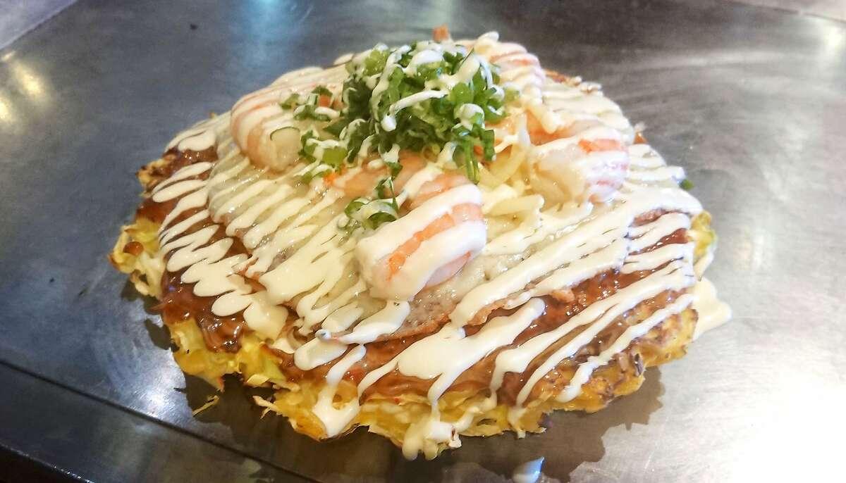 The ebi mayo okonomiyaki at Fugetsu with shrimp, green onions and melted cheese.