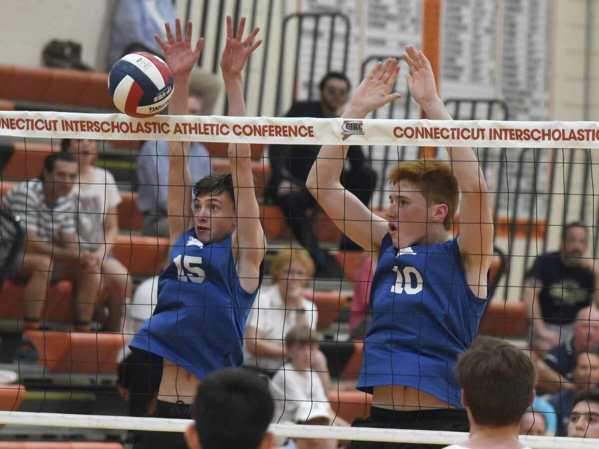 Action from the CIAC Class L boys volleyball final between Staples and Darien at Shelton High School on Thursday, June 6, 2019.