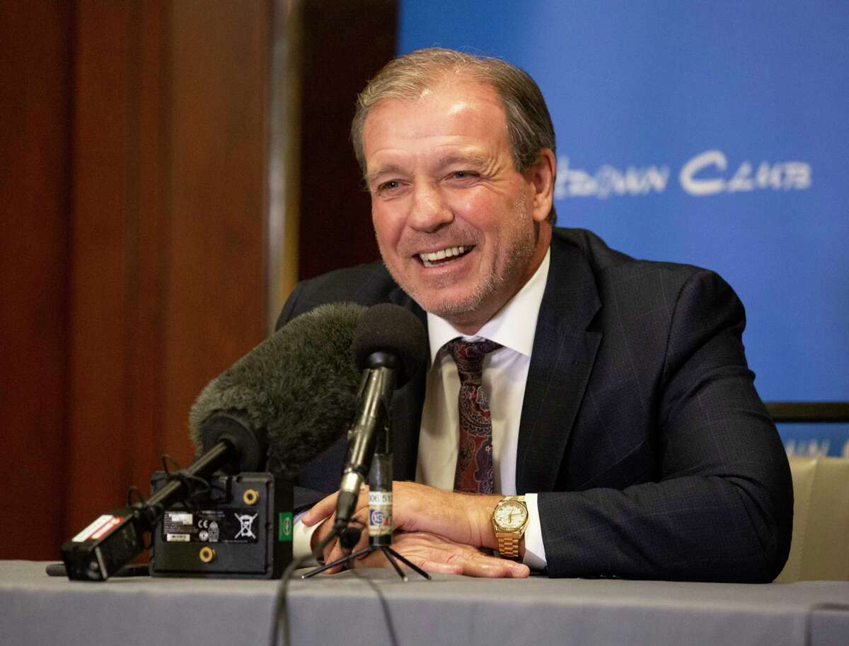 Texas A&M University Football Head Coach Jimbo Fisher talks to the press before giving a speech at a Houston Touchdown Club luncheon Wednesday, May 5, 2021, in Houston.