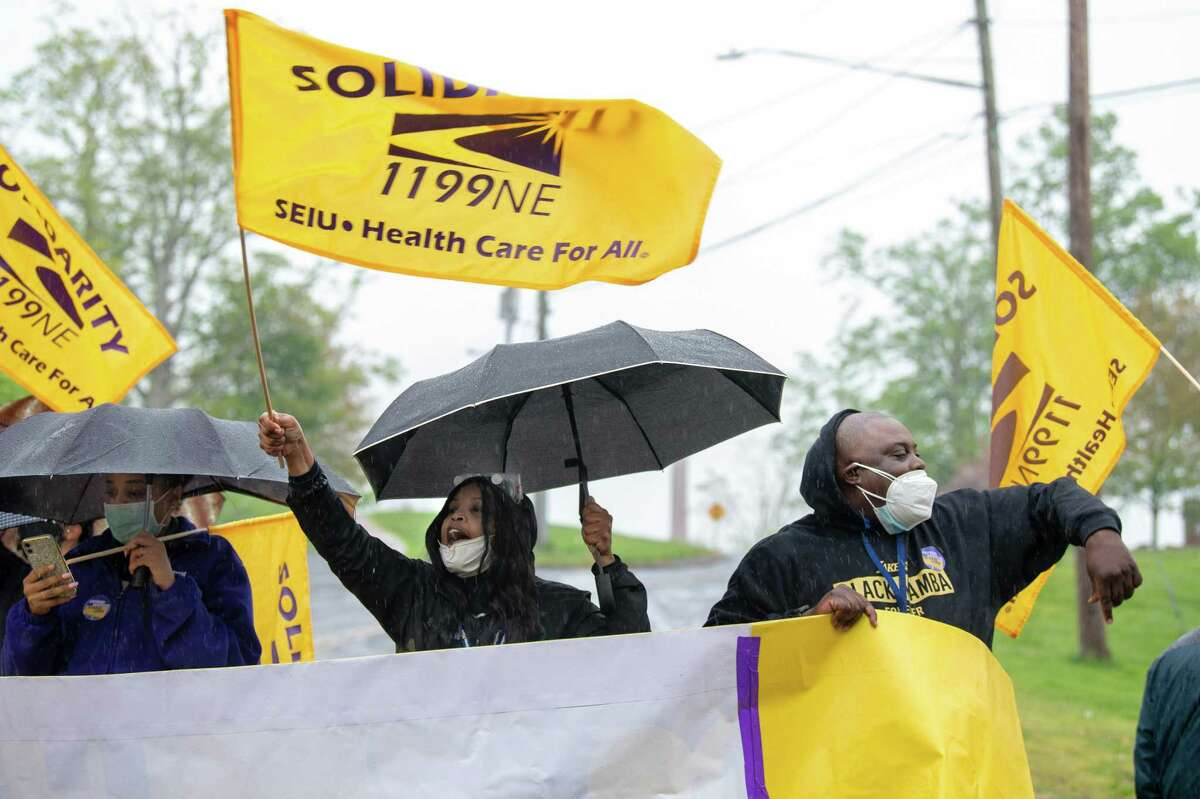 SEIU rally at Connecticut Valley Hospital, Middletown, May 5, 2021.