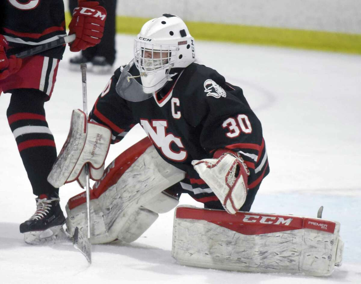 New Canaan's Blythe Novick in action during a girls ice hockey game against Darien at the Darien Ice House on Saturday, March 6, 2021.