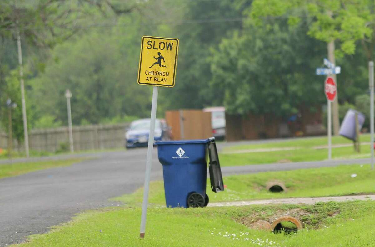Signs for children at play near a neighborhood by the Marathon Galveston Bay in Texas City on Monday, May 3, 2021. Marathon Galveston Bay had detected more of the cancer-causing pollutant benzene on the edges of its property than federal rules allow, for the second year in a row.