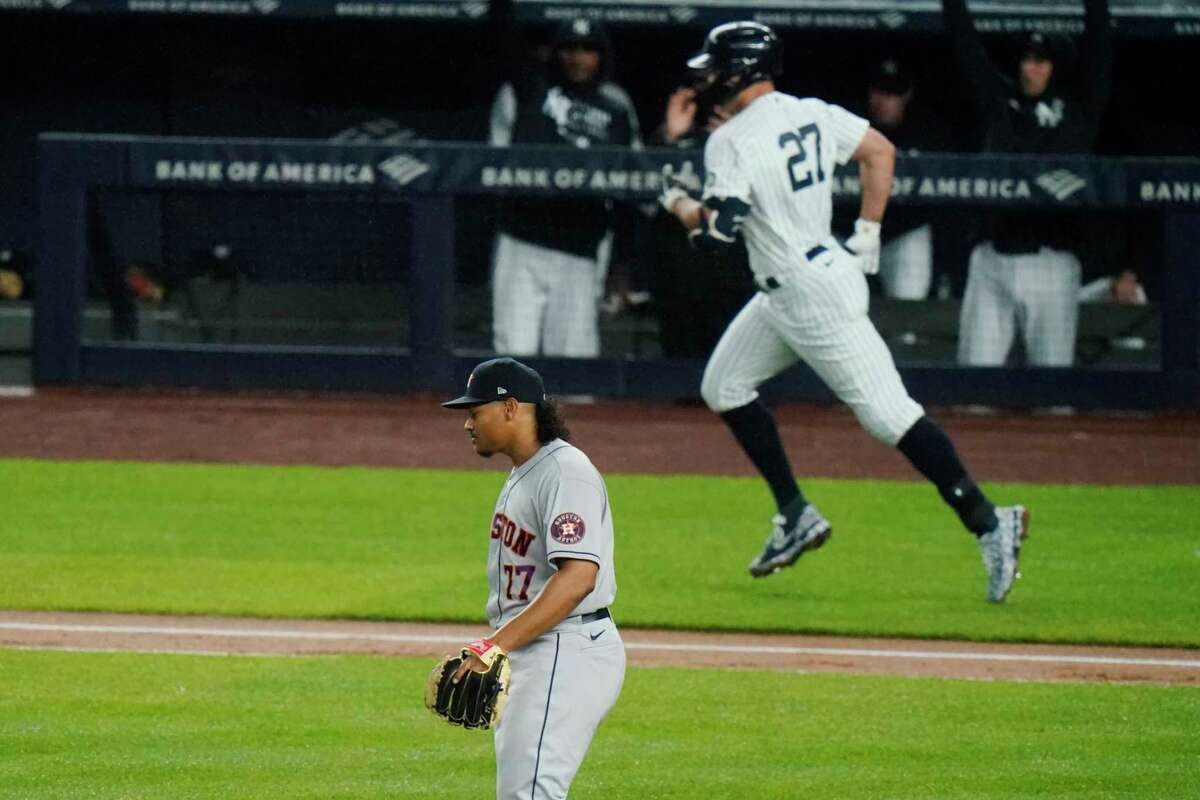 Luis Garcia was the latest Astros pitcher left to stew during a Giancarlo Stanton home run trot as the Yankees won for the second consecutive night Wednesday in the Bronx.