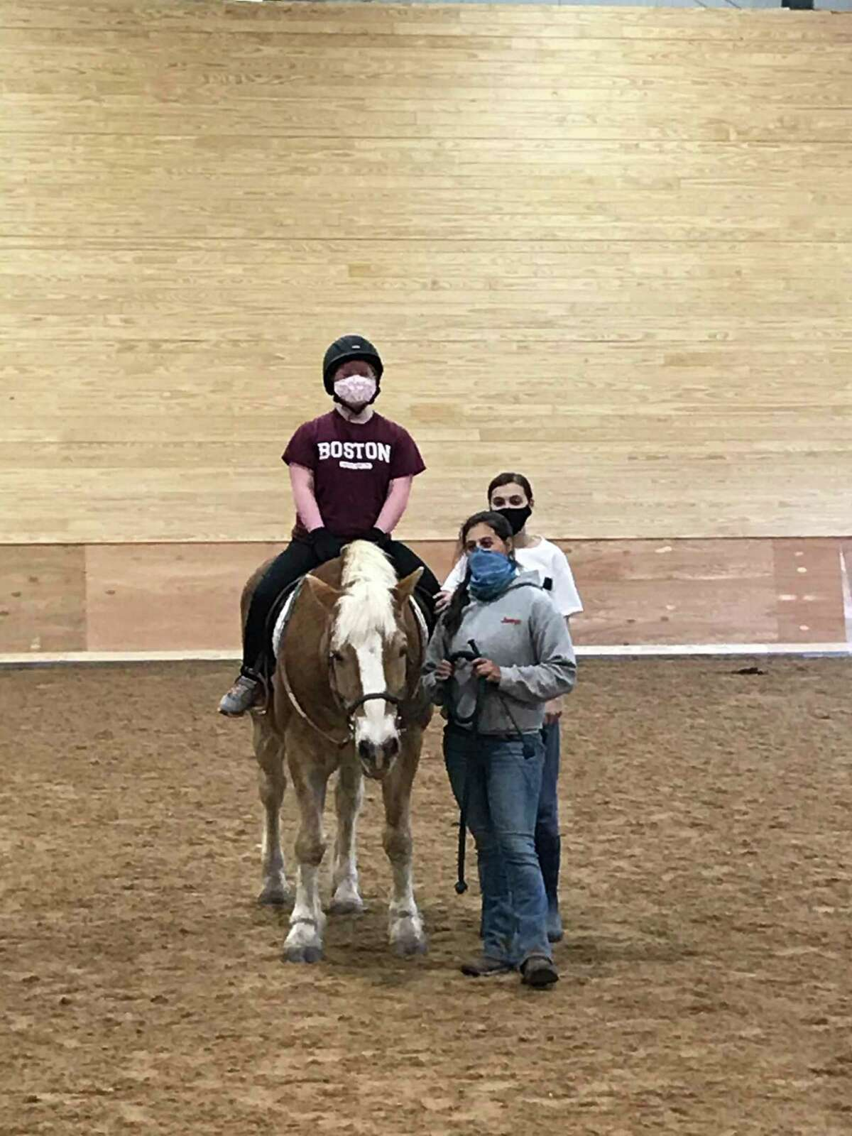 Alicia Crossley, on the horse, with Samantha Sola and Gianna Campbell