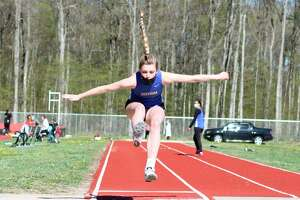 Mairin McCarthy competes in the long jump for Onekama on May 5. (Robert Myers/News Advocate)