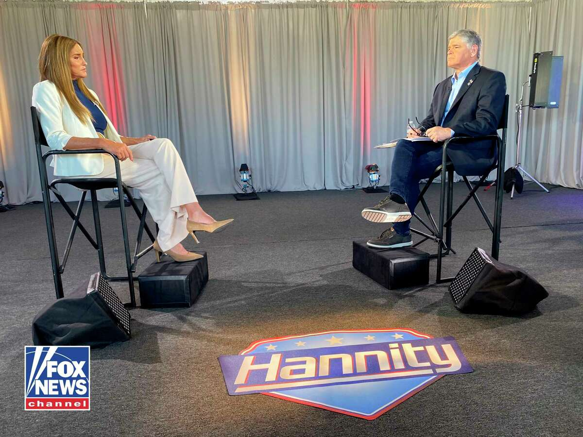 In this image provided by Fox News, Caitlyn Jenner is interviewed by Fox News host Sean Hannity, Wednesday, May 5, 2021, in Malibu, Calif.