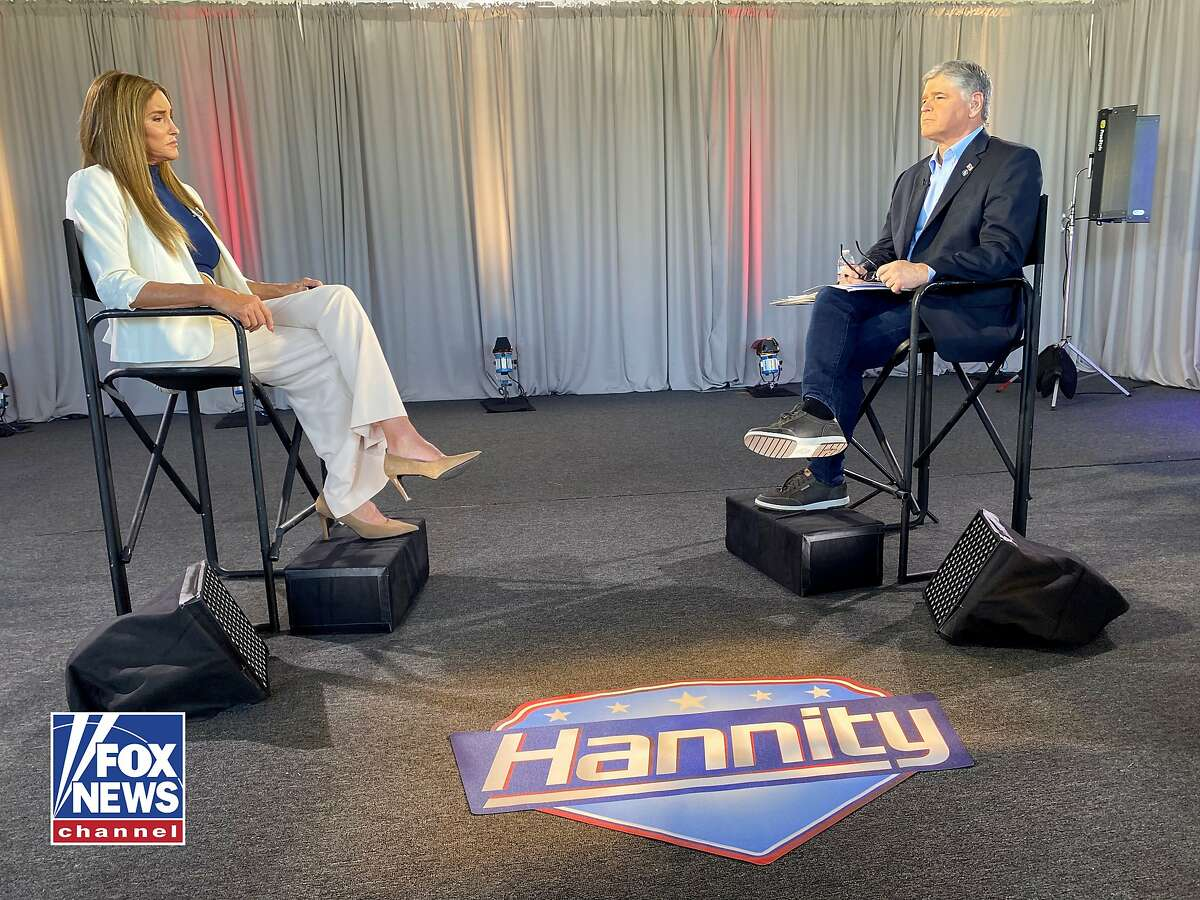 A Fox News Channel image shows Caitlyn Jenner's interview by Fox News host Sean Hannity (right), Jenner's first big TV appearance since announcing she's running for governor to replace Gov. Gavin Newsom in an anticipated recall election.