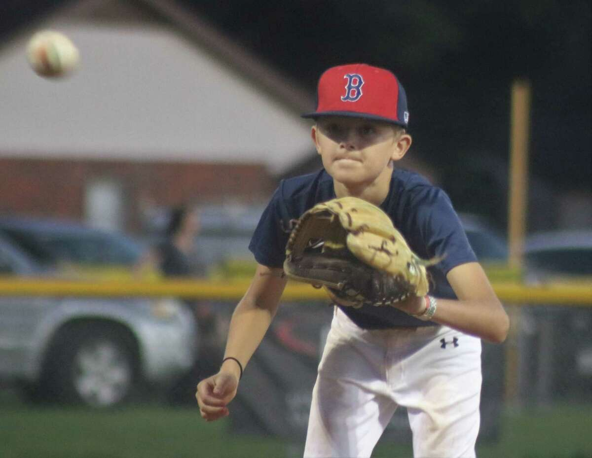 Torin Thiery awaits a throw back from his catcher during his two innings of splendid work on the mound for the Bayside Little League Red Sox Wednesday night.