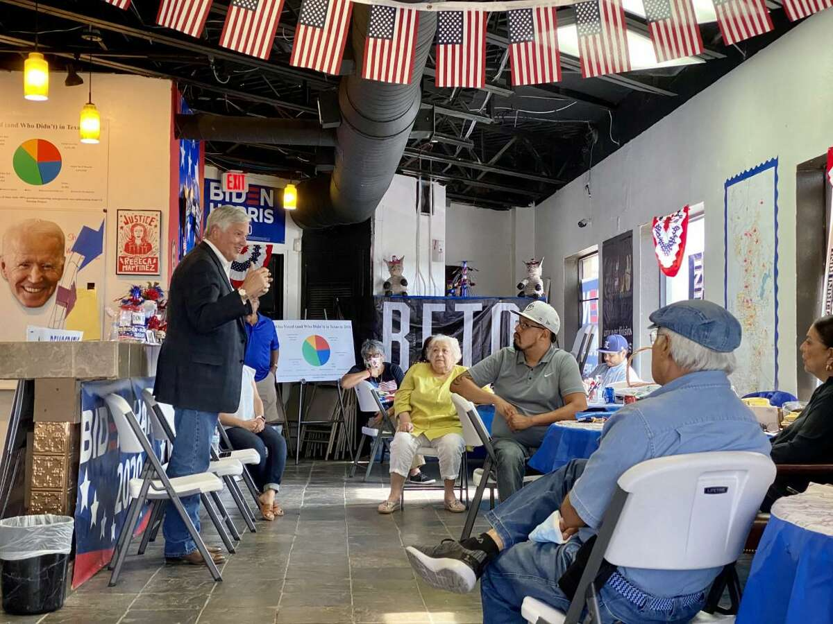 Mike Collier met with around 10 members of the Webb County Democratic Party at their headquarters in north Laredo, Thursday, April 29.