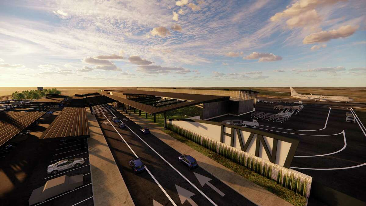 An artist rendering shows what the new terminal at Tweed New Haven Regional Airport could look like in the project proposed by Avports and the Tweed authority on May 6, 2021.