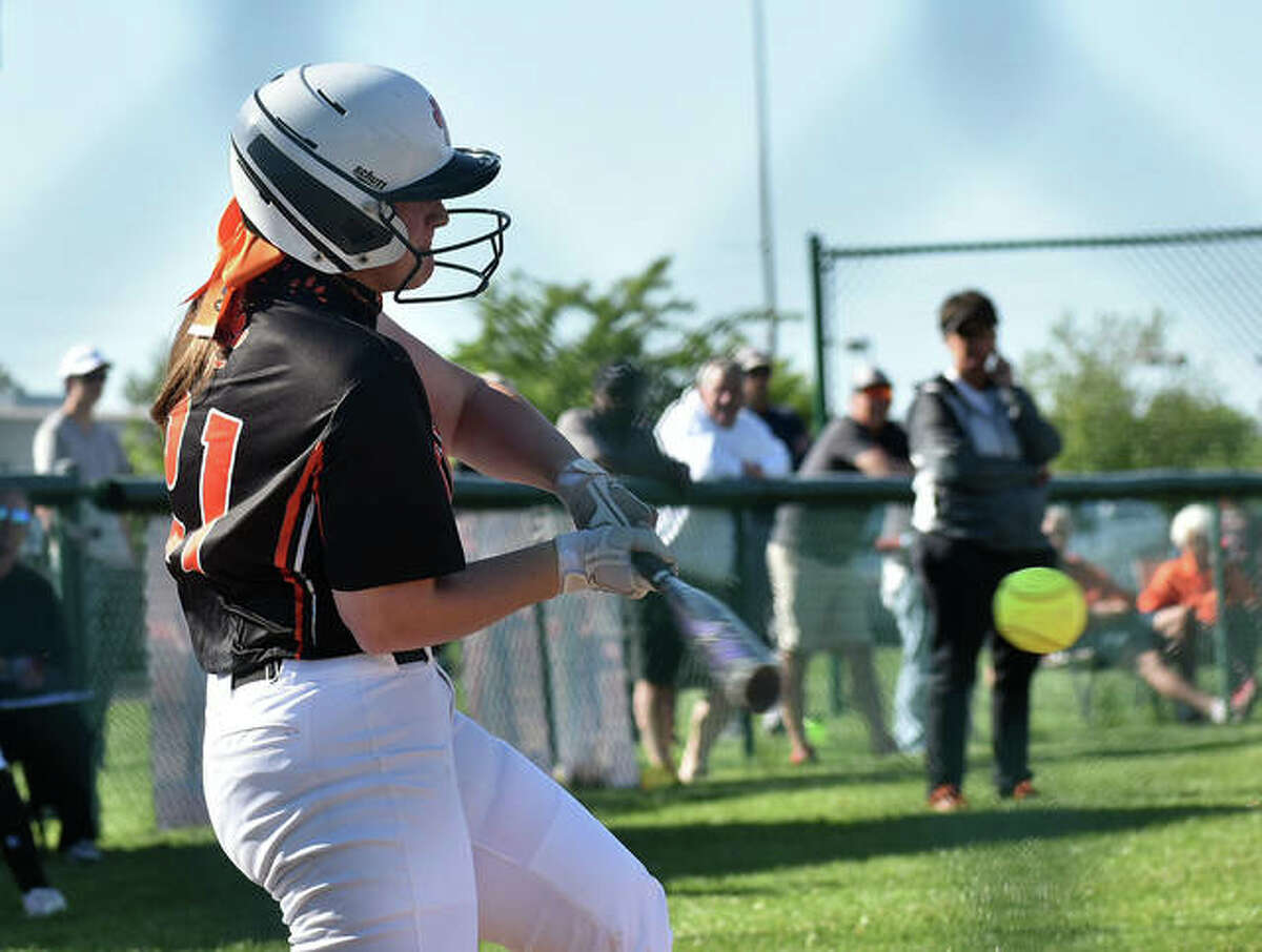 Edwardsville's Lexie Griffin hits an RBI double in the second inning against Columbia on Wednesday inside the District 7 Sports Complex.