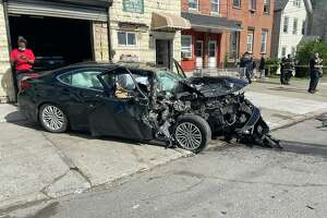 A car crash on Watervliet Avenue has left one man injured and hospitalized, and the road from Livingston Avenue to Hunter Avenue has been temporarily closed, police said.
