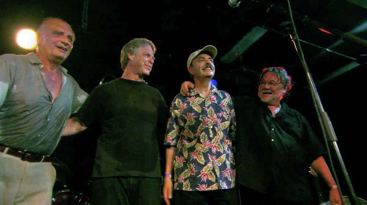 From left, Chip, Bill, Barry and Vern on stage after playing a club show in Los Angeles in 2006, the 40th anniversary of the Beatles tour.