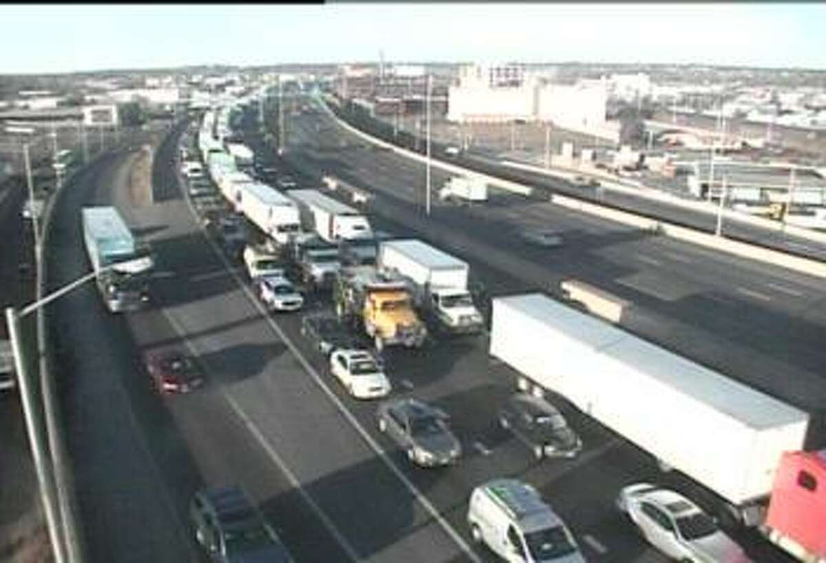Trucks backed up on I-95 on a recent morning.