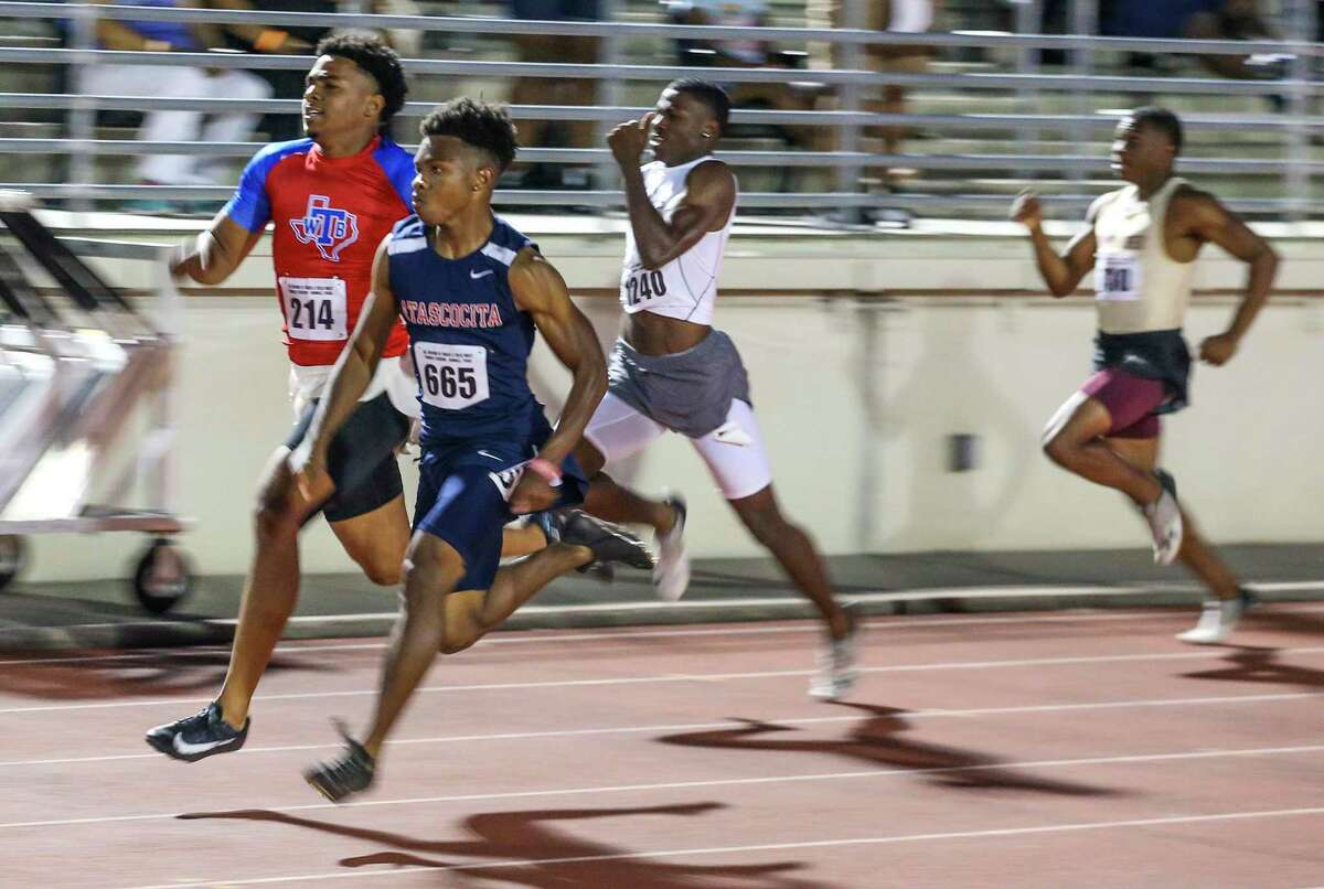 Trevion McCallan from Atascocita wins the boys 200 meter dash for 6 A schools during the finals in a regional high school track meet on April 24, 20221 at Turner Stadium In Humble, Texas.