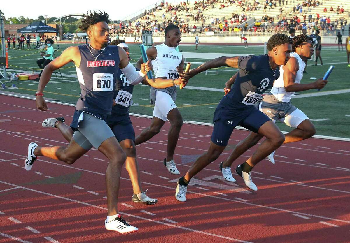 Chris Tucker, Marcos Wolf, Jamar Wilson and Jaris Hill ran the during 2 x 400 relay to win the race for Atascocita men in a regional high school track meet on April 24, 20221 at Turner Stadium In Humble, Texas.